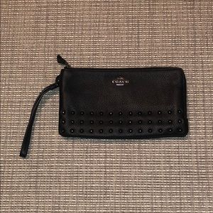 Coach double pocket  studded wallet wristlet black